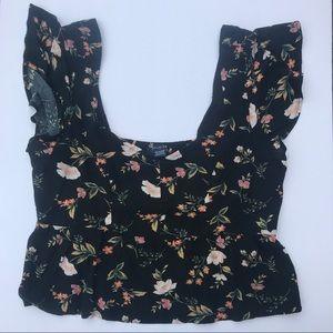AE cropped ruffle sleeve blouse